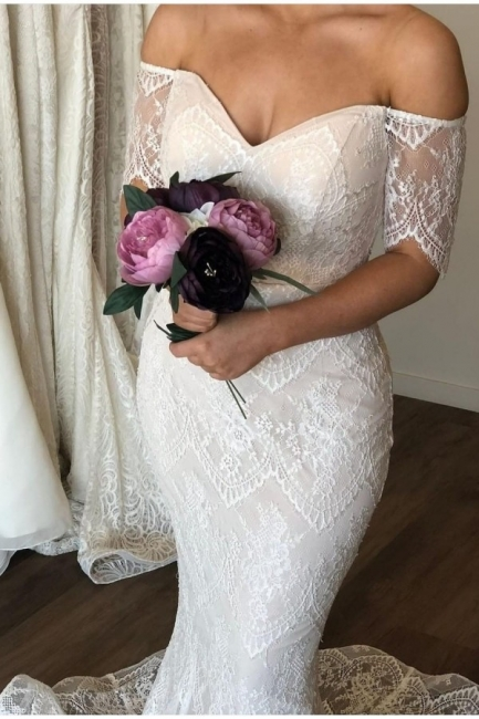 Sexy Off The Shoulder Half Sleeve Lace Mermaid Wedding Dress | Backless Bridal Gown