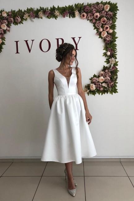 Straps V Neck Pleated Tea Length A Line Wedding Dresses