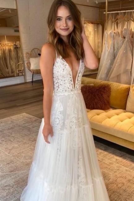 Romantic  Straps V Neck Applique Tulle A Line Beach Wedding Dress | Floor Length Wedding Gown