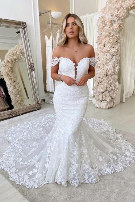 Off The  Shoulder Deep V Neck Applique Fit And Flare Mermaid Wedding Dresses