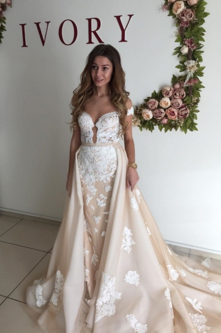 Champagne Sheer Neckline Backless Applique Detachable Skirt Sheath Wedding Dresses