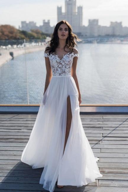Off The Shoulder Sweetheart Applique Front Slit Wedding Dresses   Sash Tulle Bridal Gown Wedding Dresses