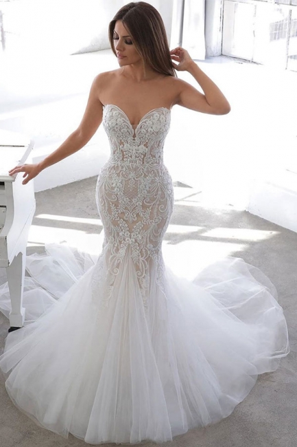 Elegant Sweetheart Backless Lace Tulle Fitted Mermaid Wedding Dresses