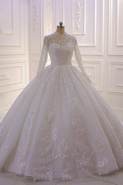Ball Gown Long Sleeves High neck Lace Wedding Dress