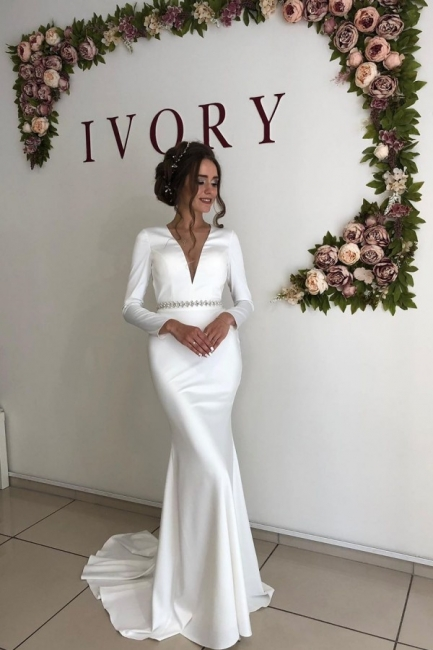 Graceful Deep V Neck Long Sleeve Open Back Crystal Fit And Flare Mermaid Wedding Dresses With Sash