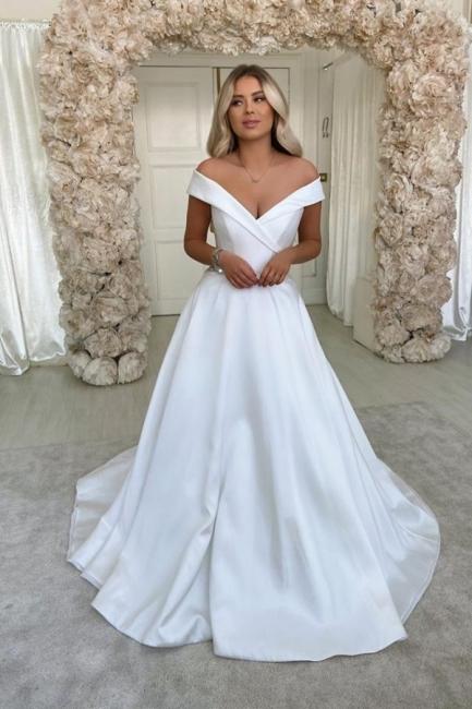 Elegant Off The Shoulder Sweetheart A Line Wedding Dresses