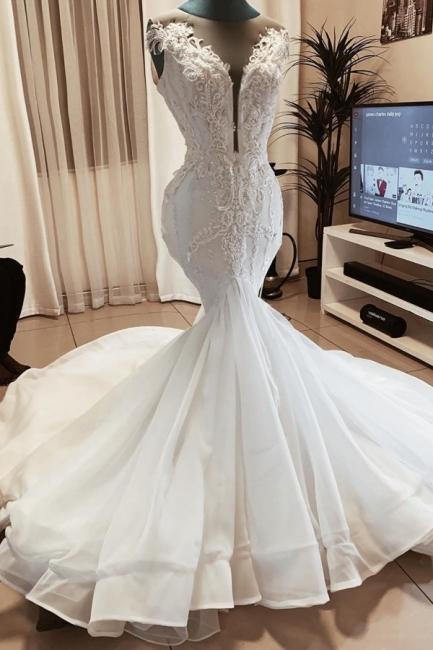 Jewel Sleeveless Applique Fit And Flare Mermaid Wedding Dresses