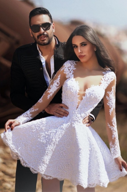 Short A-line V-neck Long Sleeves Lace Wedding Dress