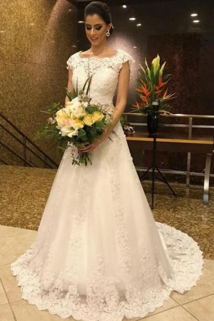 Simple White Long A line Lace Wedding Dress