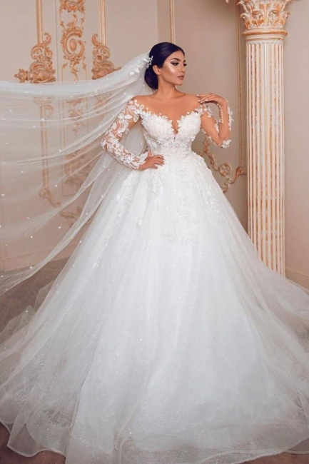 Royal Jewel Long Sleeve Floral Ball Gown Wedding Dresses | Beaded Puffy Wedding Gown