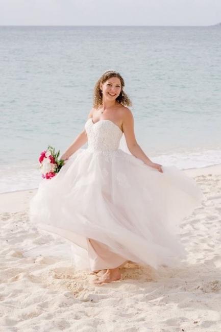 Sexy Sweetheart Backless Applique A Line Summber Beach Wedding Dresses