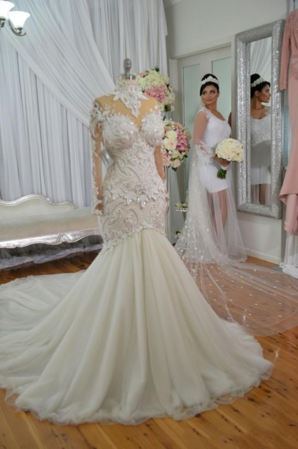 Elegant High Neck Long Sleeve Applique Sequin Fit And Flare Mermaid Wedding Dresses