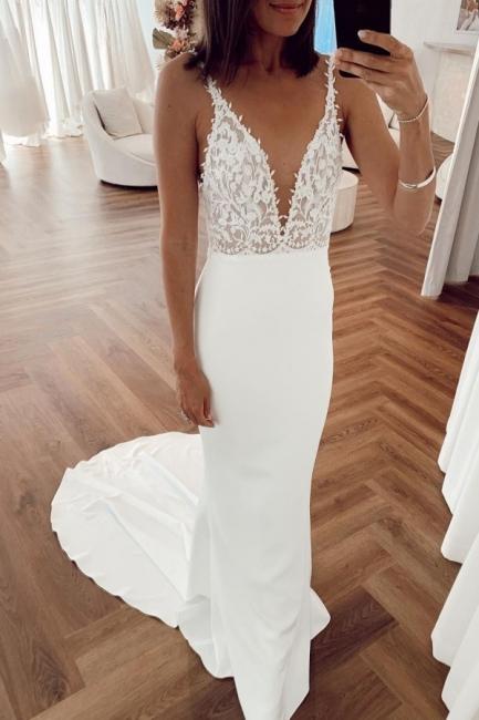 Simple Spaghetti Strap Backless Applique Sheath Wedding Dresses