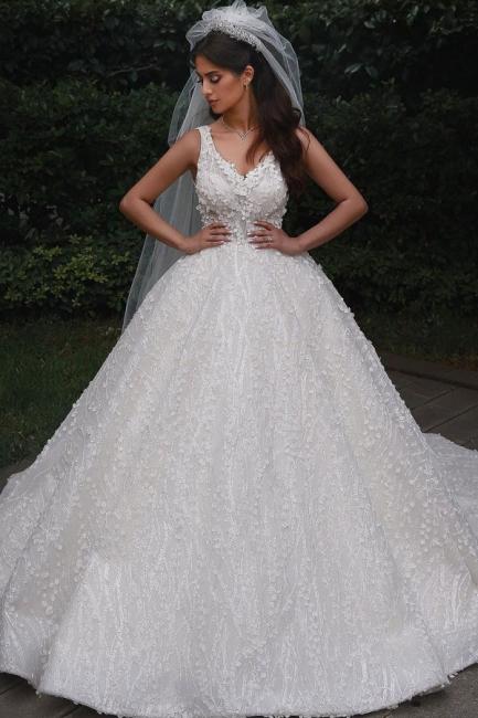 Deam Strpas V Neck Backless Floral Crystal A Line Wedding Dress