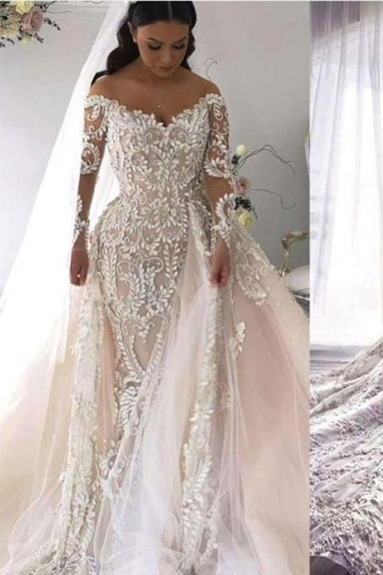 Long Sleeve Applique Detachable Skirt Mermaid Wedding Dresses   V Neck Wedding Gown