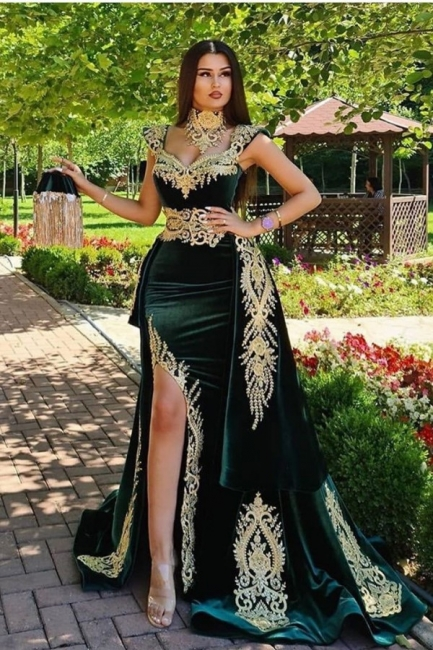 Mermaid Dark Green Velvet Formal Prom Dresses with Gold Lace appliques