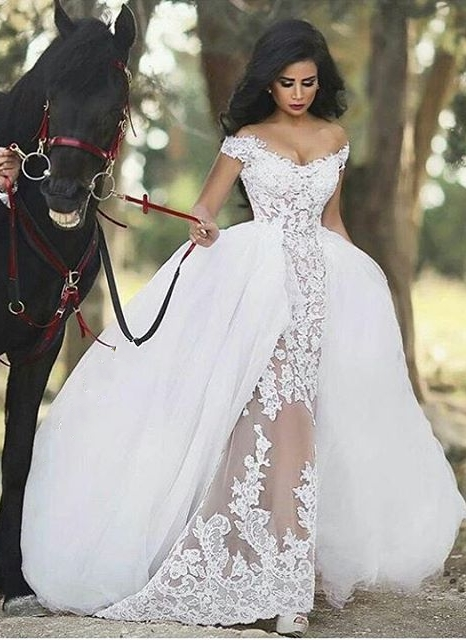 Lace Off-the-Shoulder Gorgeous Overskirt Sheer Detachable Wedding Dresses
