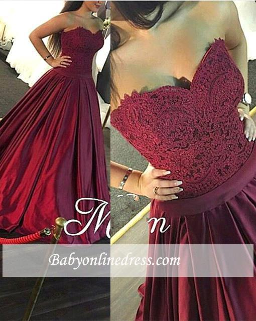 Sweetheart-Neck Marron Long Puffy Lace Evening Gowns