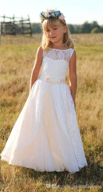 Jewel Cute Lace White Cheap Flower Girl Dresses with Sash