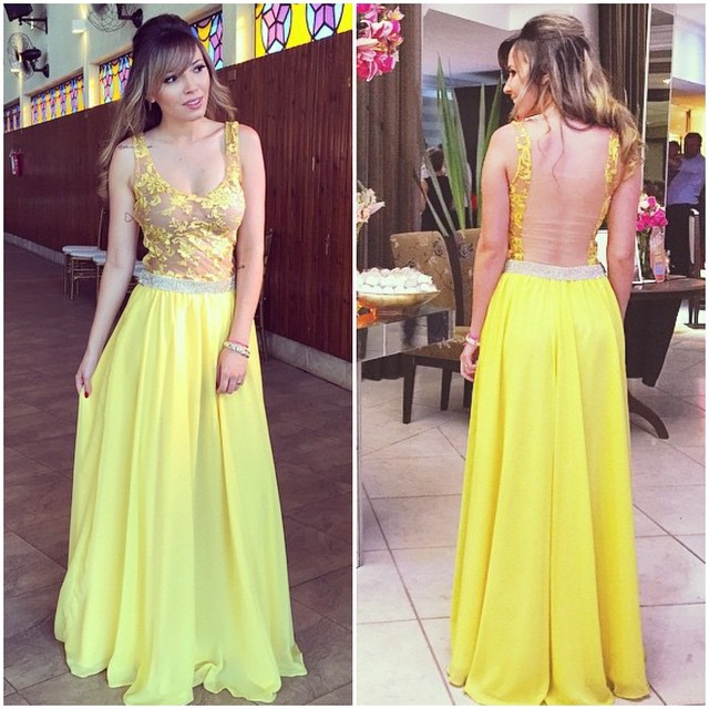 Lace A-line Hollow Yellow Floor-length Elegant Chiffon Straps Prom Dress