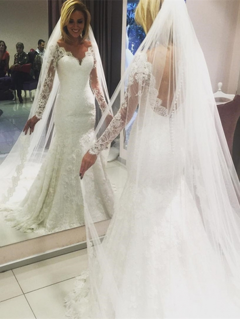 Glamorous Lace V-Neck Mermaid Wedding Dresses with Long Sleeves