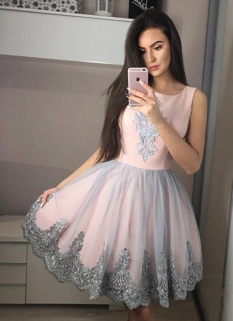 Exquisite A-Line Homecoming Dresses | Scoop Sleeveless Applique Short Cocktail Dresses
