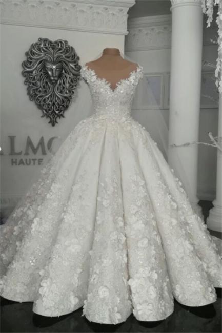 Elegant Sleeveless Beaded Ball Gown Wedding Dresses  with Handmade Flowers