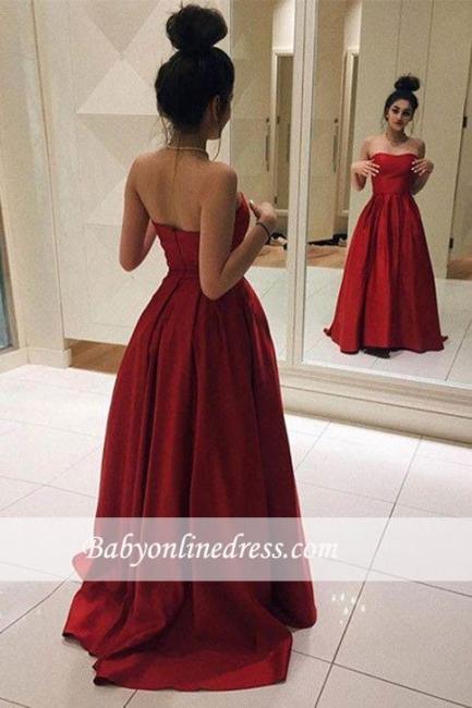 Sleeveless Strapless Red Elegant A-line Floor-length Prom Dress