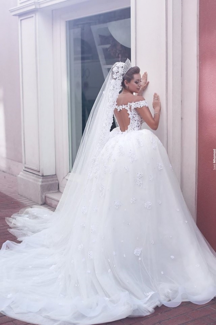 Vintage Ball Gown Wedding Dresses Off the Shoulder Sweetheart Open Back Lace Vestido De Novia