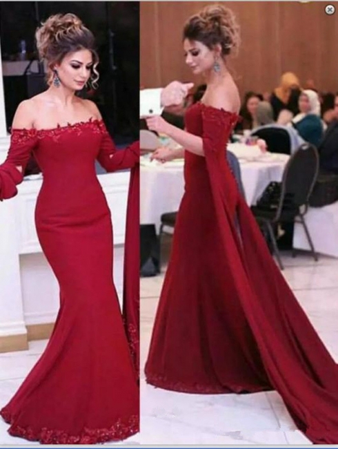 Burgundy Off-shoulder Watteau Train Lace Appliques Mermaid Evening Dresses