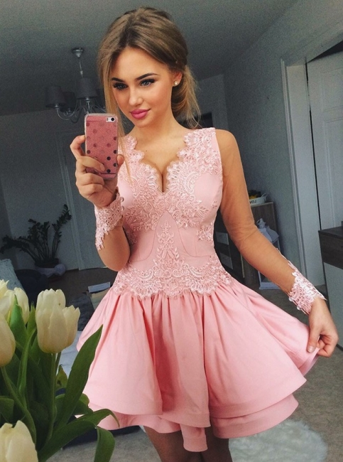 Chic Pink A-Line Homecoming Dresses | V-Neck Long Sleeves Lace Short Cocktail Dresses
