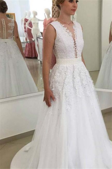 Appliques Elegant Bowknot Lace V-Neck Beadings Wedding Dresses