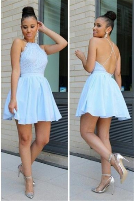 Cheap Halter A-line Homecoming Dresses Backless Lace Chiffon Cocktail Dress