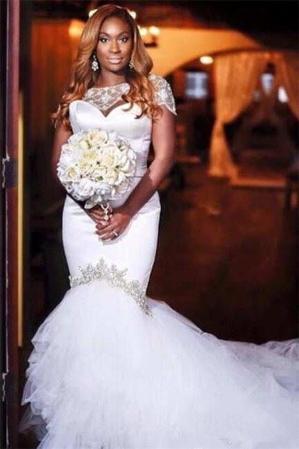 Unique Jewel Cap Sleeve Beaded Ruffles Mermaid Fitted Wedding Dress