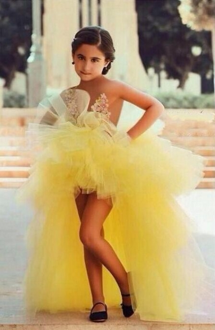 Yellow Hi-lo Girl's Pageant Dresses Tiers Tulle Sheer Flower Applique Girl Formal Dresses