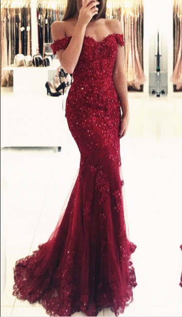 Glamorous Red Lace Mermaid Appliques Off-the-shoulder Evening Dress
