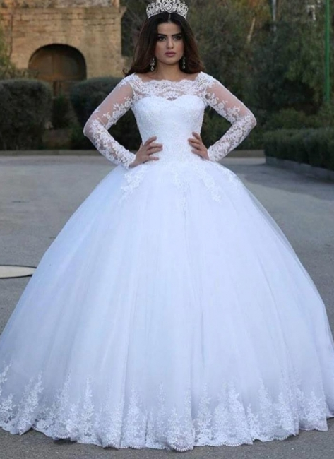 Jewel Lace Ball Gown Wedding Dresses with Long Sleeves
