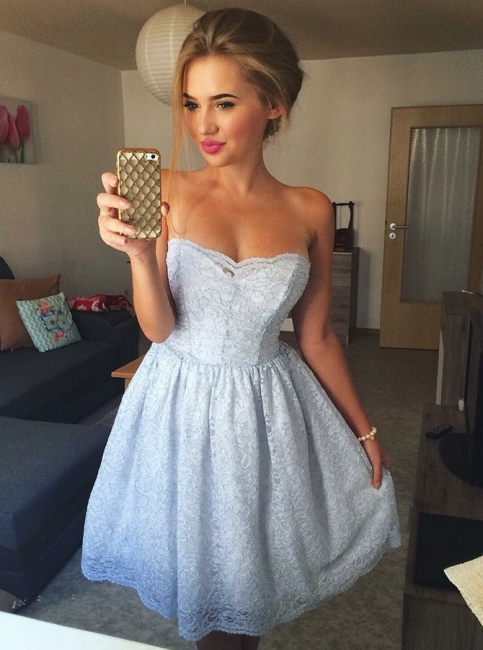 Sexy Lace A-Line Homecoming Dresses | Strapless Short Cocktail Dresses