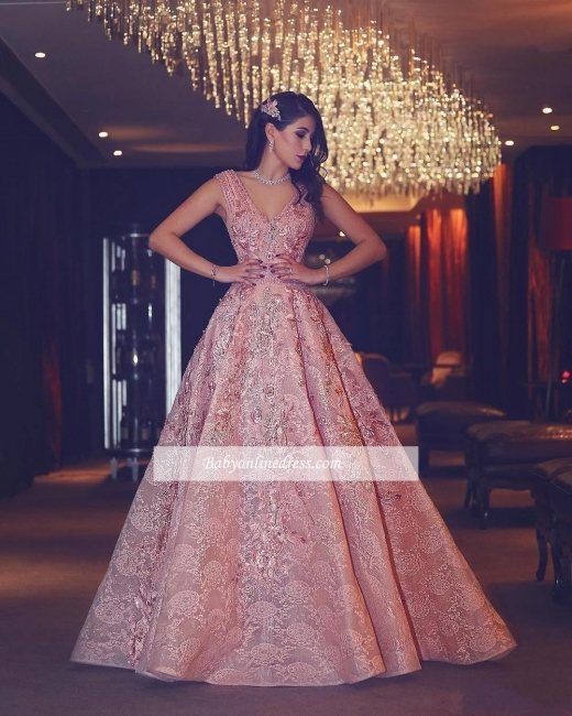 V-Neck Beading Flowers Lace Luxury Puffy Pink Evening Gowns