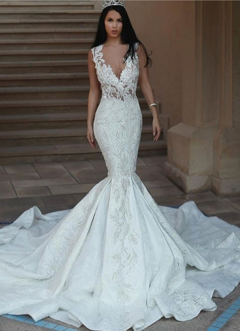 Sexy V-Neck Mermaid Wedding Dresses | Lace Appliques Open Back Bridal Gowns