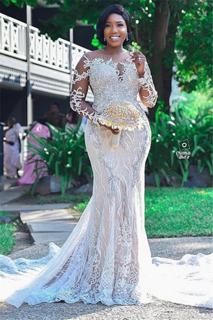 Gorgeous Long Sleeve Applique Beaded Open Back Mermaid Wedding Dress