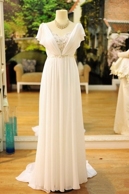 Chiffon A-line Wedding Dresses Capped Sleeves Crystals White Long Formal Evening Gowns