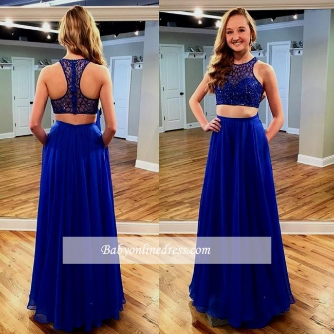 2018 Royal Blue Two piece Sleeveless Long Jewel Newest Prom Dress with Beadings
