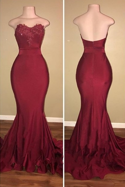 Simple Burgundy Mermaid Prom Dresses | Strapless Sweetheart Neck Evening Gowns