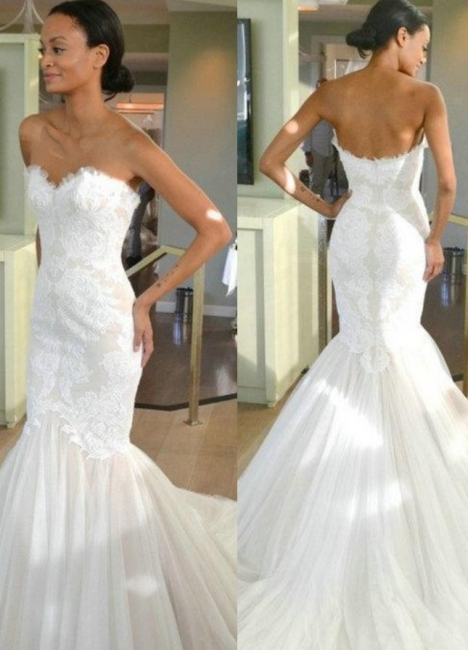 Tulle Sleeves Strapless Lace Mermaid Wedding Dresses with Sweep train