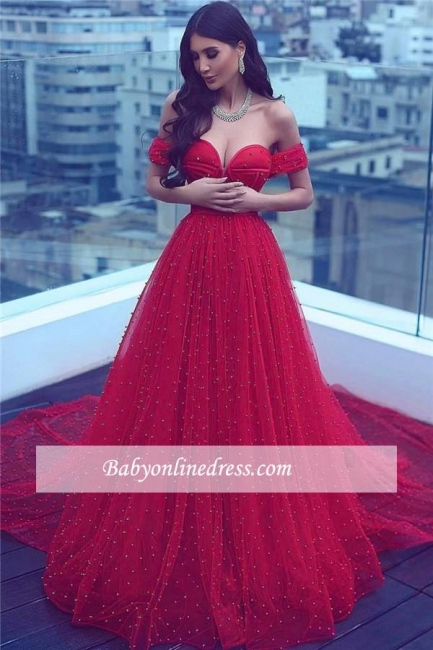 2018 Amazing Red Beading Off-the-shoulder A-line Sweetheart Court-Train Prom Dress