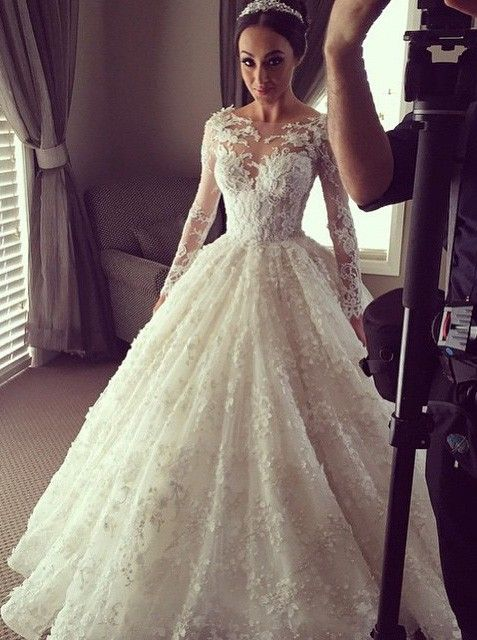 Illusion Long Sleeves 3D-Floral Appliques Luxury Ball Gown Wedding Dresses