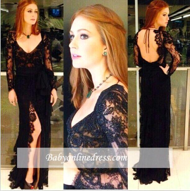 Sexy Side-Slit Lace Long-Sleeves Back Open Black Evening Gowns