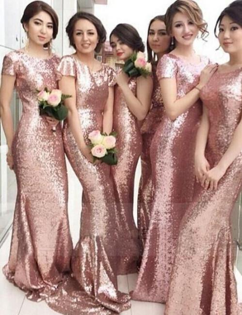 Rose Gold Mermaid Bridesmaid Dresses Short Sleeves Bling Bling Metallic Wedding Party Dresses