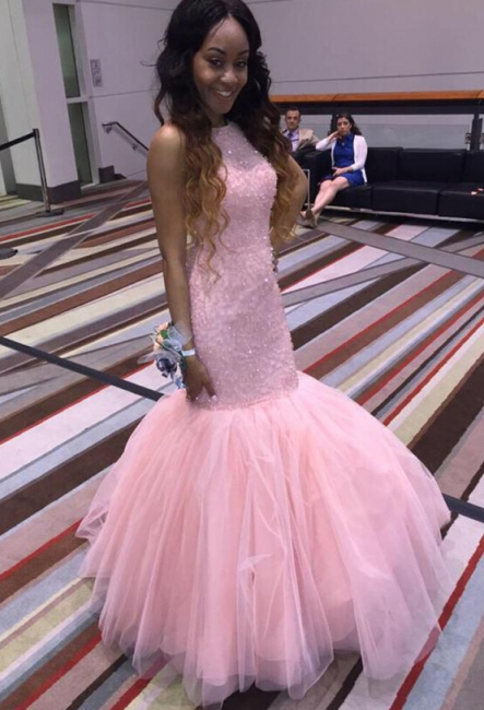 Hot Fit and Flare Long Light Pink Formal Party Dress Beaded Tulle Prom Dresses